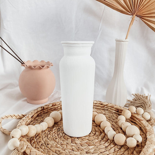 White Matte Boho Vase | Terra Cotta Textured Vase
