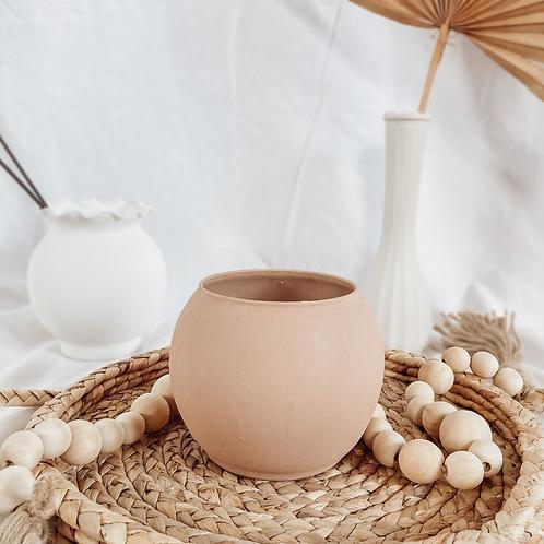 Round Matte Vase | Terra Cotta Textured Vase | Boho Home Decor