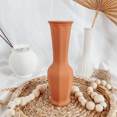 Long Neck Matte Boho Vase | Terra Cotta Textured Vase