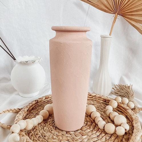 Rusty Pink Matte Boho Vase | Terra Cotta Textured Vase