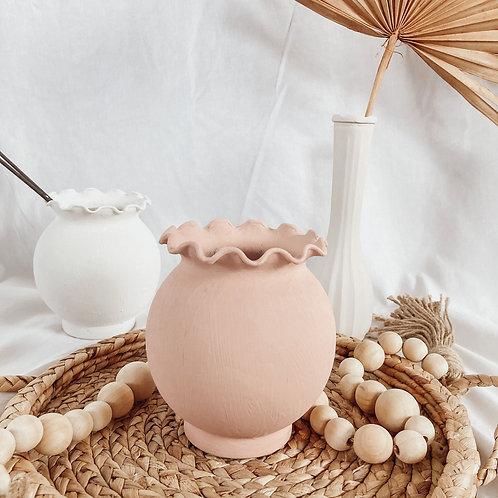 Round Matte Vase With Ruffles | Terra Cotta Textured Vase