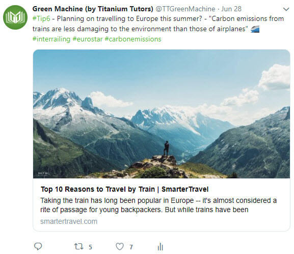 Green Machine posting about Sustainability