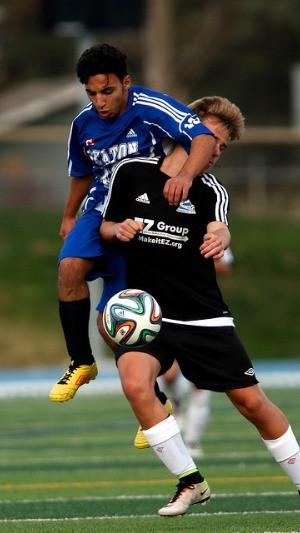 Soccer player fouls opponent
