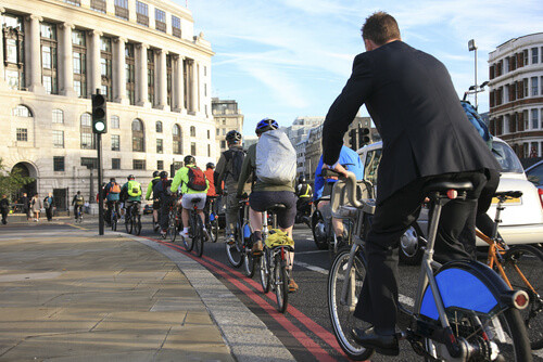 Commuters cycling on cycle super-highway