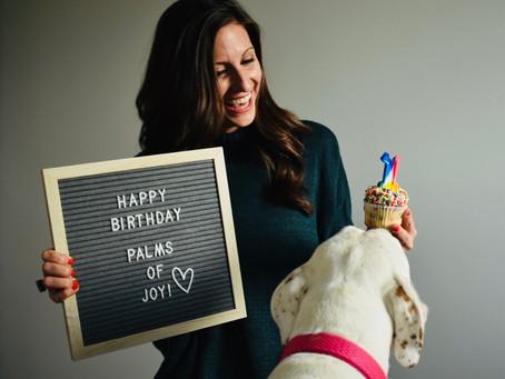 happy birthday, palms of joy!