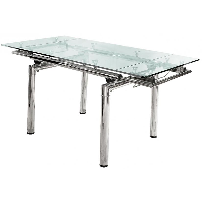 Mesa de vidrio extensible cromada