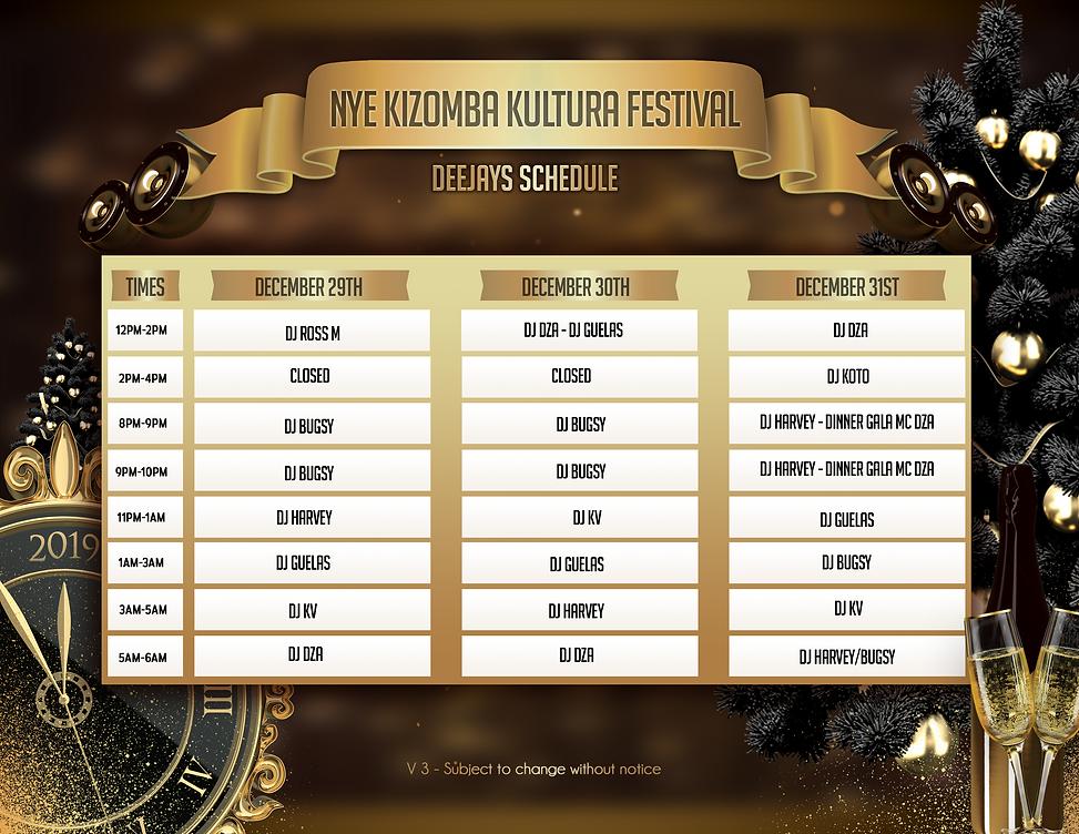 NYE Kizomba Kultura Festival DJ Schedule