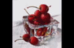 Cherries  and Glass Finished Painting.jp