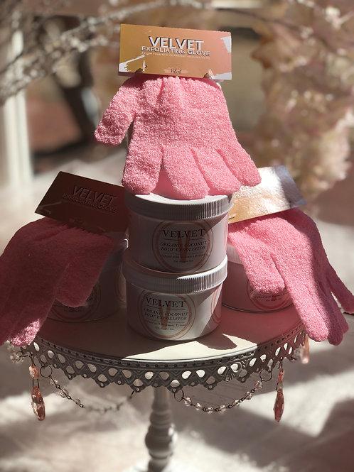 Velvet Exfoliating Glove & Sugar Scrub Combo
