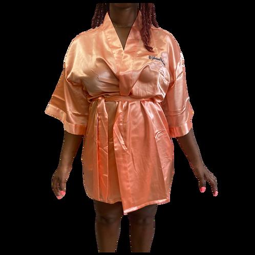 Velvet Satin  Peach Robe