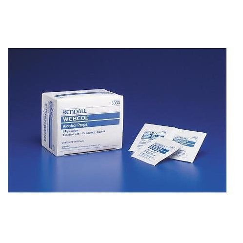 Alcohol Prep Pad Webcol™ Isopropyl Alcohol, 70% Individual Packet Medium Sterile