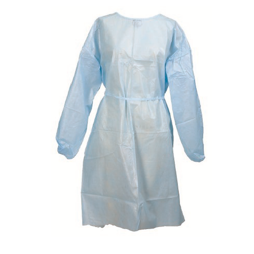Isolation Gown, Blue Spunbound, Full length Protection, 50/Case