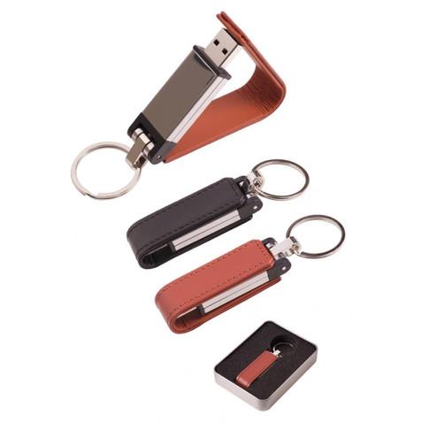 Deri Metal Anahtarlık USB Bellek