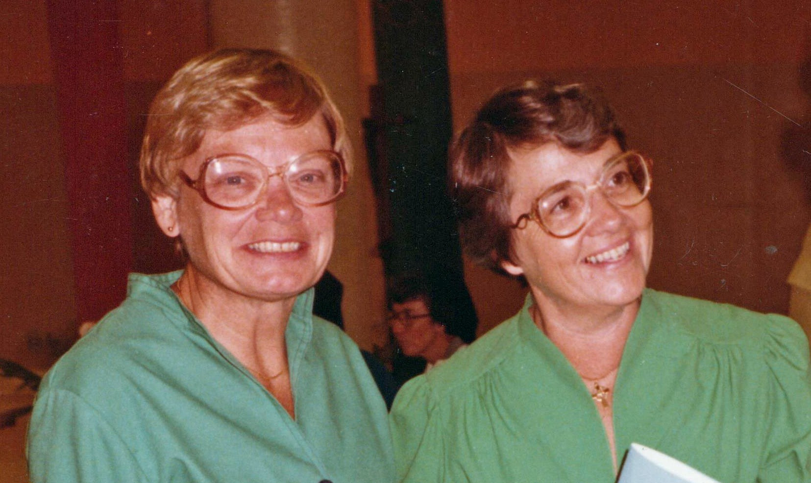 During the 1960's, many sisters in both the United Sates and in Mexico began working in institutions not directly related to the Congregation. Parish ministry was introduced in the United States in 1968 when Sisters Helen Ann Collier, Alice Maria Rothermich, Joan Holden, and Jane Frances McGrail served as assistants to pastors in two parishes in St. Louis, Missouri. Pictured are Srs. Annette Pezold and Helen Ann Collier.