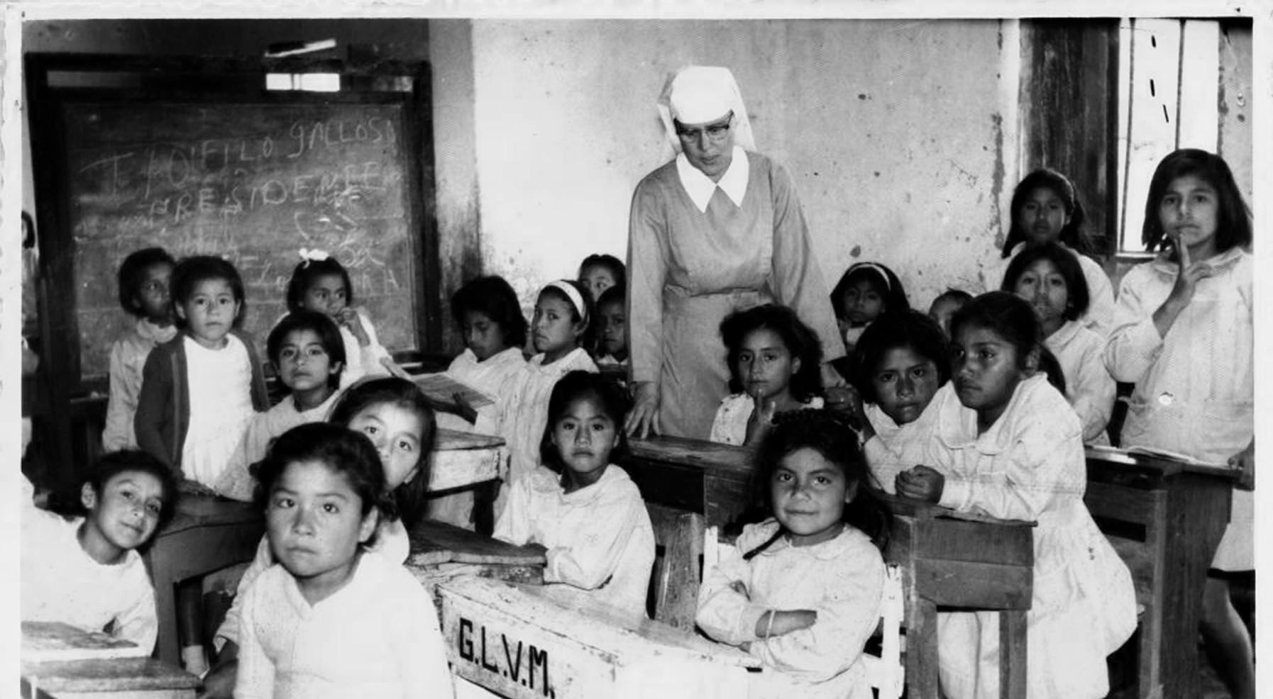 Sister Mary Mark Gerken teaching in Peru in 1965.