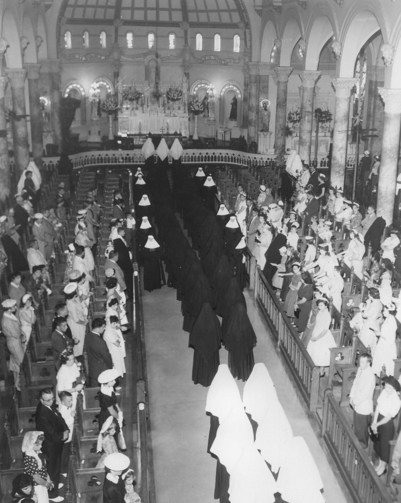 Before the renewal of religious life brought about by Vatican II, women entering in religious life stayed at the Motherhouse or one of the Provincial Houses. After first vows, a sister would be sent on mission, and would live in the community in which she worked, usually a school or hospital.