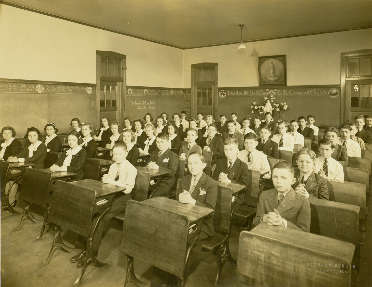 The Sisters opened several schools in the Midwest in the early decades of the 20th century, including those in Jefferson City, Taos, Old Mines, and St. Louis, Missouri, and in Cicero (Chicago), Illinois. Classroom, St. Francis of Rome, Cicero, 1939.