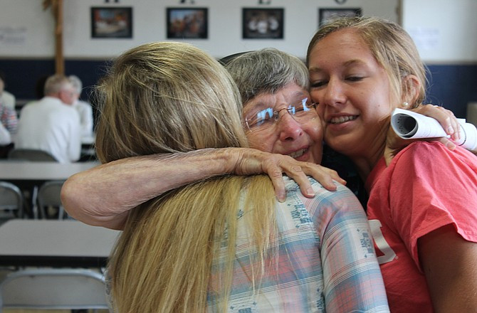 Immaculate Conception School in Jefferson City, Missouri, celebrated its 100th anniversary in 2012. The last Incarnate Word Sister to teach at the school, Sr. Josetta Eveler, retired from teaching that same year. Pictured is Sr. Josetta saying goodbye to students.
