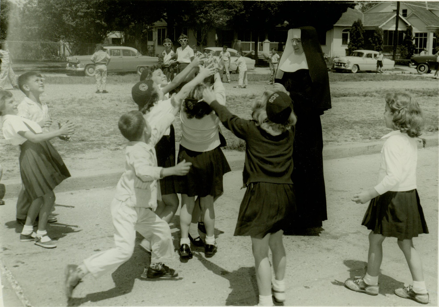 Incarnate Word Sisters also opened schools in New Orleans, including St. Francis de Sales School (1919), St. Catherine of Siena School (1926), and Archbishop Chappelle High School, opened in 1962. Pictured is Sr. Annella Conway at St. Catherine of Siena, 1959.