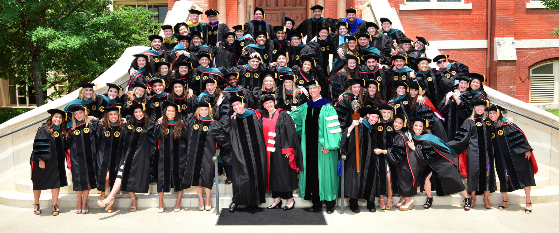 Incarnate Word College became a university in 1996. The university graduates more Hispanic students than any other university in the United States. Many graduates are first-generation university students.  Pictured: the 2015 graduating class of the School of Physical Therapy.
