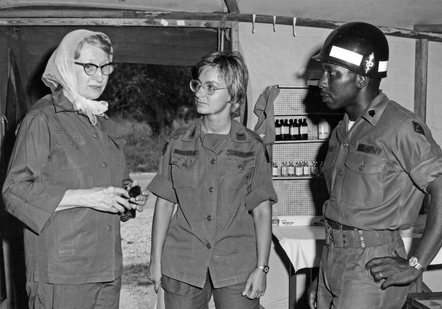 In 1972, Sr. Charles Marie was appointed to the Defense Advisory Committee on Women in the Service by U.S .Secretary of Defense Melvin Laird. Here, she is advising on the well-being of military women at Camp Bullis, Texas.In retirement, Sr. Charles Marie developed a clinic for retired Sisters living in the Motherhouse. She also wrote the history of the mission in Peru and volunteered in the congregation's archives.