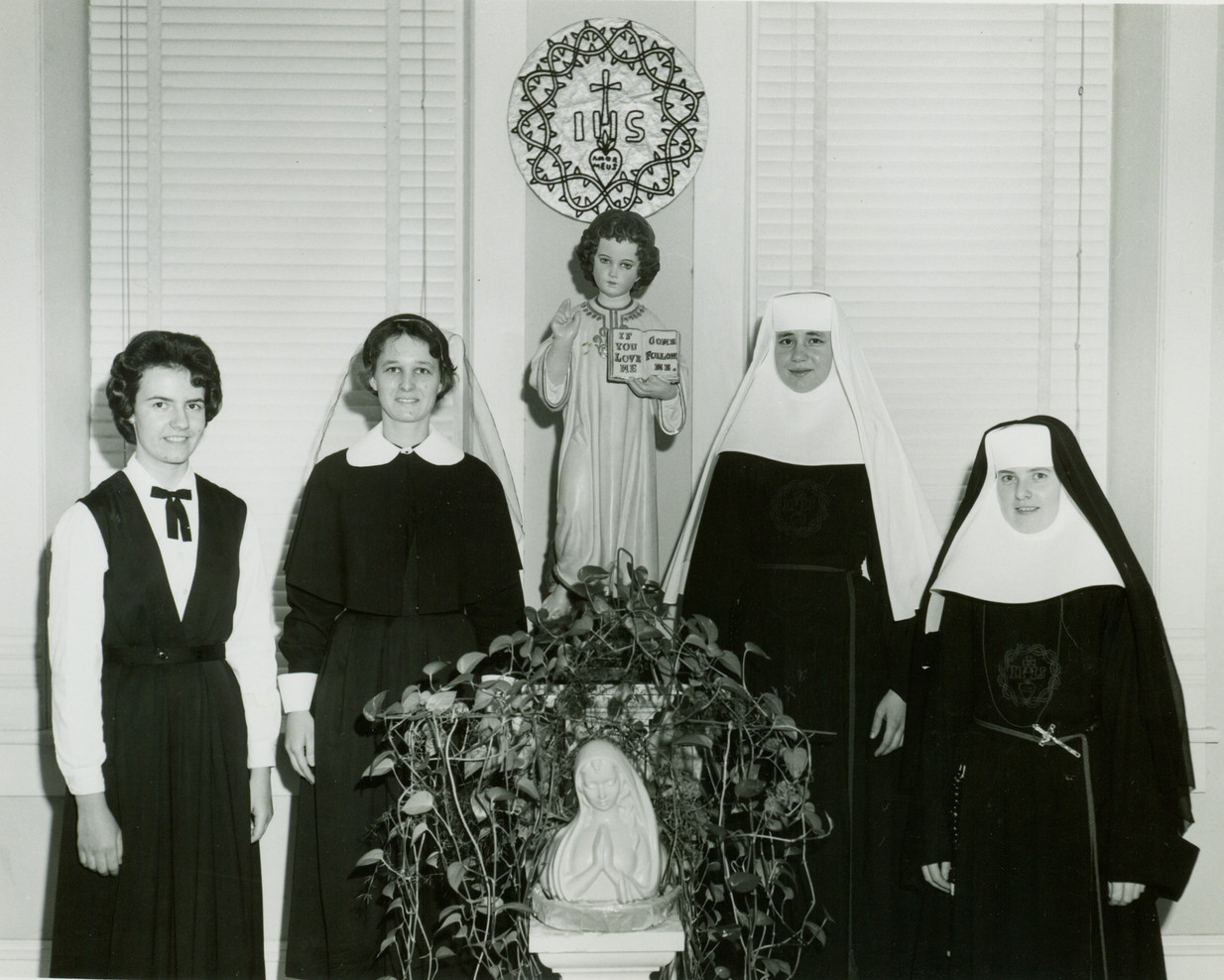 Before the 1960s, a young woman who wanted to enter religious life began as a candidate (left). After a few months of study and prayer, she became a postulant. After a year or so, she became a novice and after two or more years, she professed first, or temporary, vows. After three or more years, a woman then made final vows.