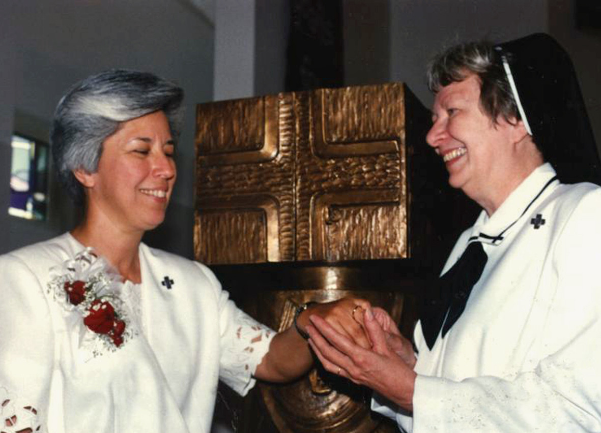 """After Vatican II, communities were created of fully professed Sisters and women who were preparing to enter religious life. This process is called """"formation,"""" and teams of Sisters were responsible for formation. Pictured: Sr. Marinela Flores with Sr. Maria Goretti Zehr, on the occasion of Sr. Marinela's final profession in 1992"""