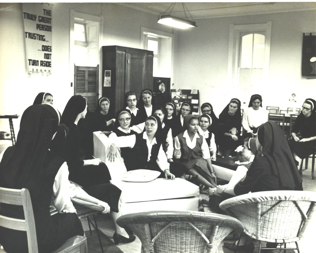"""The Vatican II Council, held in Rome from 1962 to 1965, called men and women religious to """"look at the signs of the times"""" and """"renew"""" their way of living. """"We did a lot of praying and talking, but we learned to communicate honestly and truthfully with one another"""" (Sr. Eleanor Cohan)."""