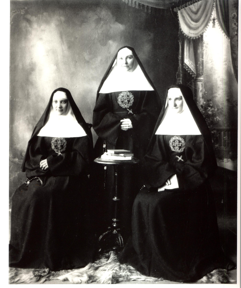 There were few trained, licensed nurses in San Antonio in the early 20th century. The Congregation opened Santa Rosa Training School for Nurses in 1903 to respond to the need. Pictured here are the first three graduates of the school, Sisters Philip Neri Neville, de Sales Keegan, and Robert O'Dea, who would later serve as a distinguished and effective administrator of the hospital. The school is now known as the Ila Faye Miller School of Nursing.