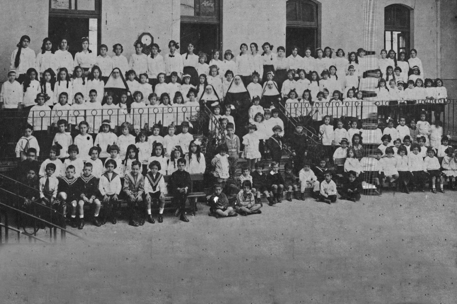 In 1905, four Sisters were sent by the Reverend Mother Madeleine Chollet to establish Incarnate Word English Academy in Mexico City, as a private secondary school for girls. Pictured are students and Sisters in 1917, just as persecution of the Church was beginning in Mexico.