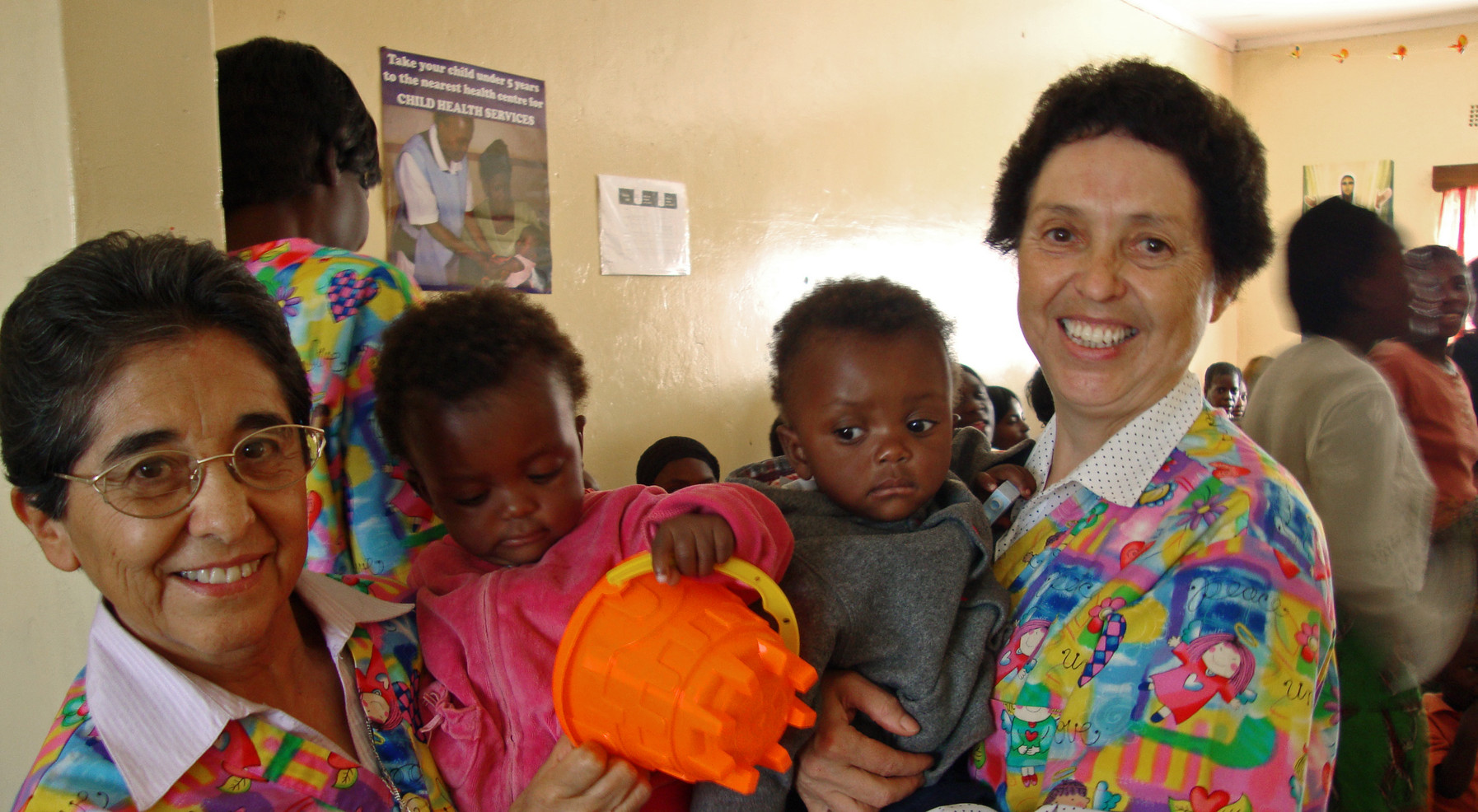 In 2000, the Congregation opened a mission in Zambia. The Mother and Infant Care Program was established by the Sisters to prevent mother-to-child transmission of HIV. Since its inception, the program has been extremely effective in achieving its goal. Sr. María Cristina Vargas (left) and Sr. Rosa Margarita Valdés (right) were the first to go to Zambia.