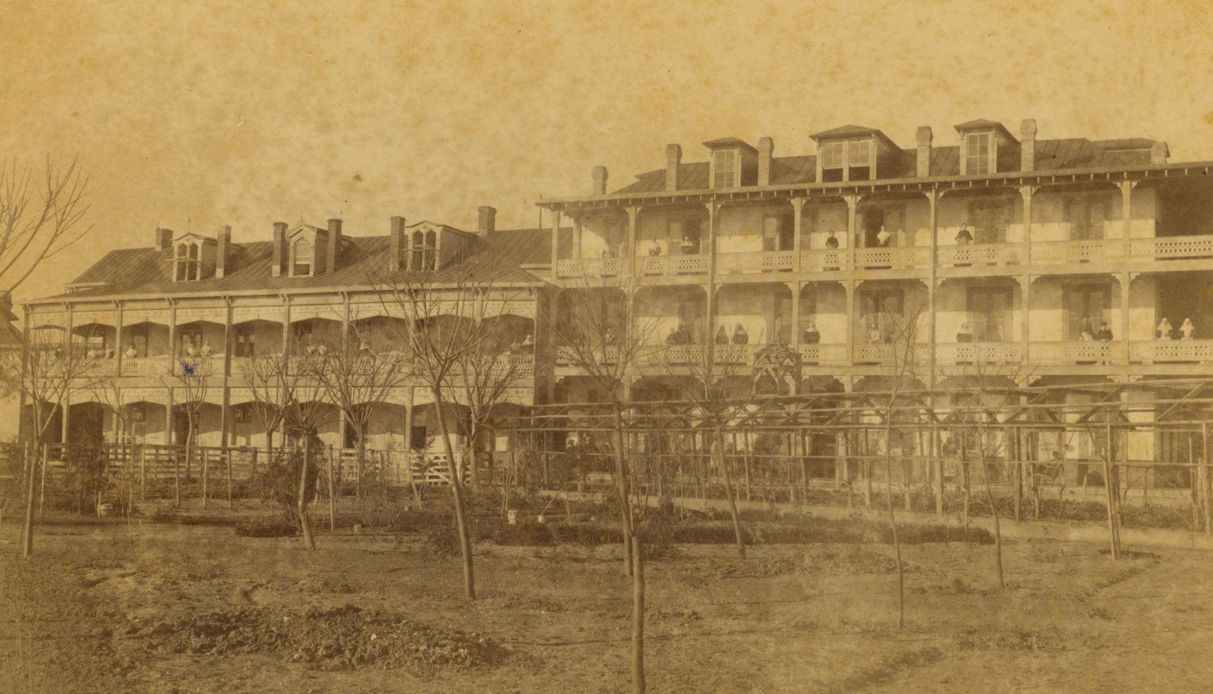 The Congregation moved Santa Rosa Infirmary from its original location at Commerce and Cameron streets in 1875 to its present location on Houston Street.