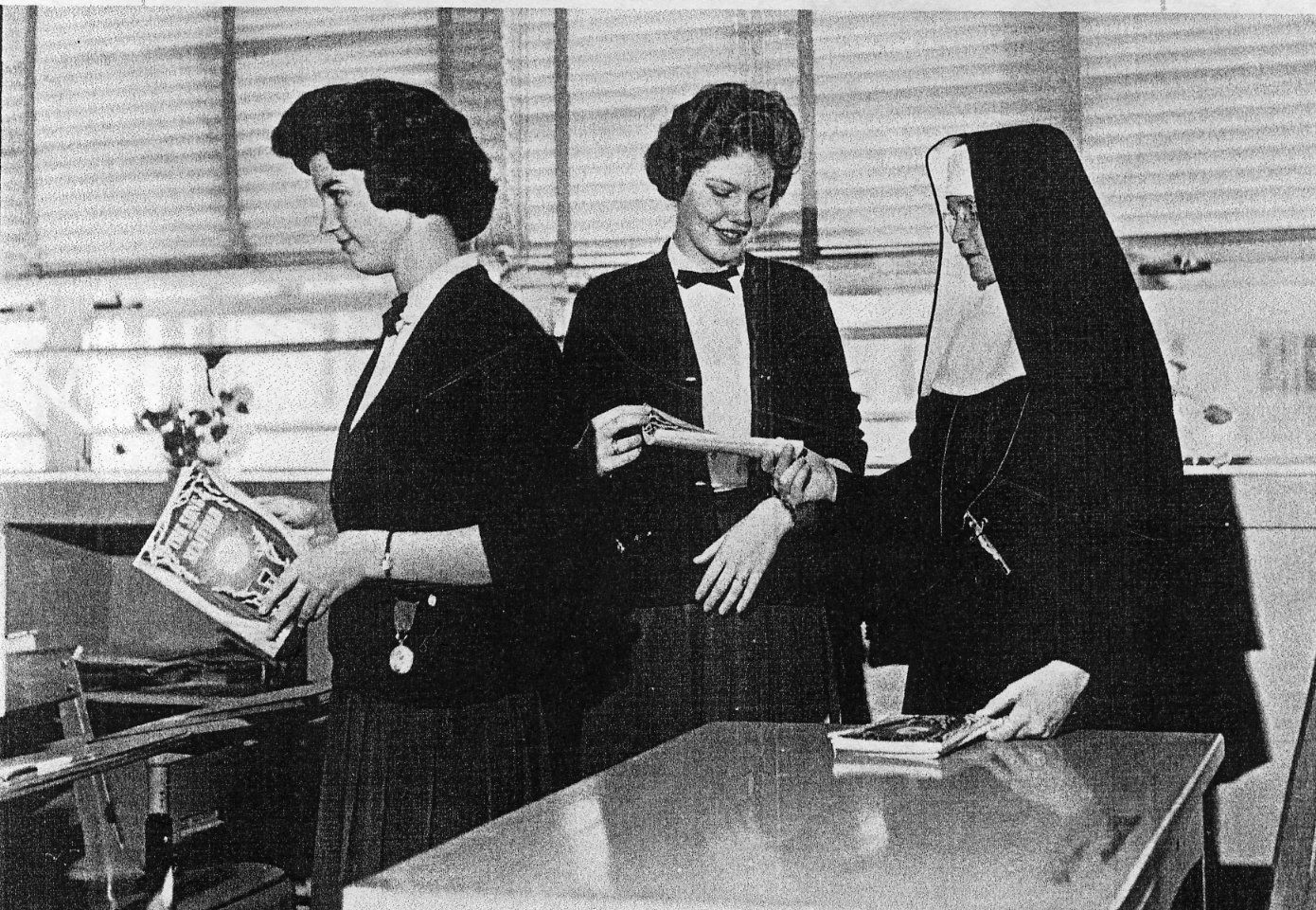 In 1951, Incarnate Word High School was built and blessed on the western edge of the Congregation's property in San Antonio. Sister and students at Incarnate Word High School.