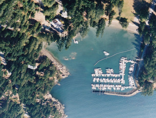 Aerial view of Thieves Bay before the marina expansion.