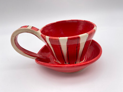 """Taza Sombrero """" stripes red 6oz"""