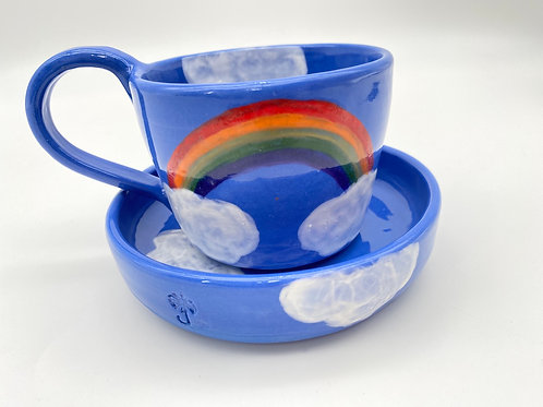 "El Arcoiris cup 8oz ""porcelana azul"""