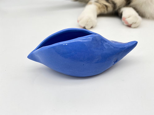 "Mini tiesto de ""pajarito"" en porcelana azul"