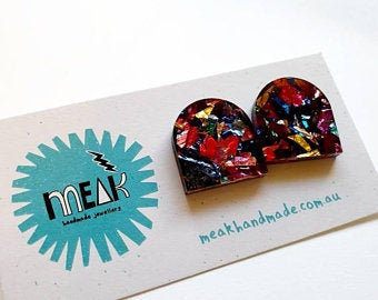 MEAK - Glitter Grafiti Statement Stud