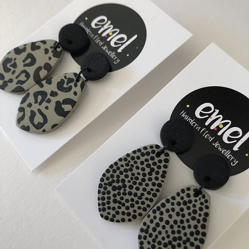 Khaki Green Dangle Earrings - EMEL