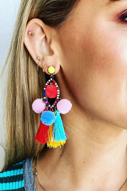 Rainbow Poms Earrings - MOSK Melbourne