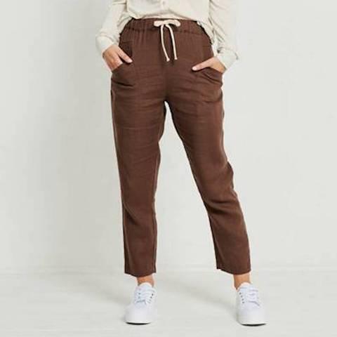 Little Lies - Linen Luxe Pants Chocolate