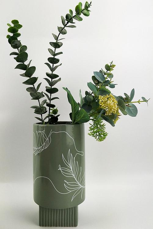 Nova Leaf Vase 22cm (Green)