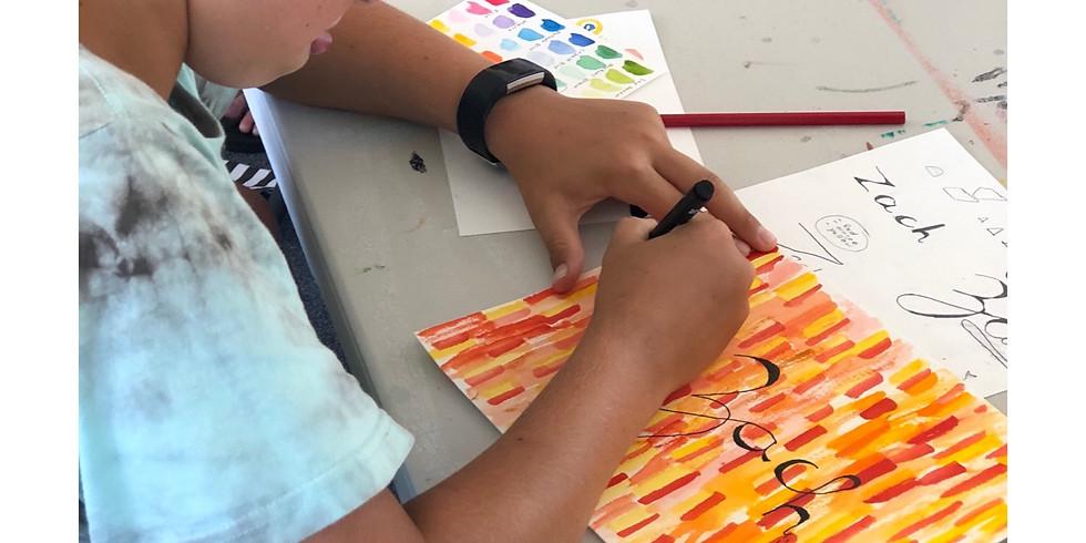 KIDS (8yrs+) Watercolour + Ink Name Workshop