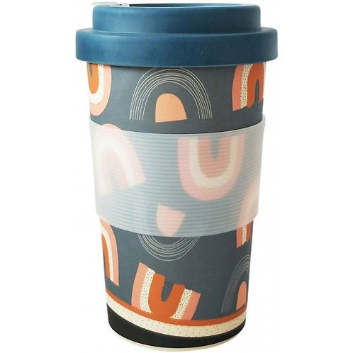 Retro Rainbow Eco Mug Pink Mustard 400ml - URBAN PRODUCTS