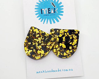 MEAK - Black & Gold Glitter Statement Studs