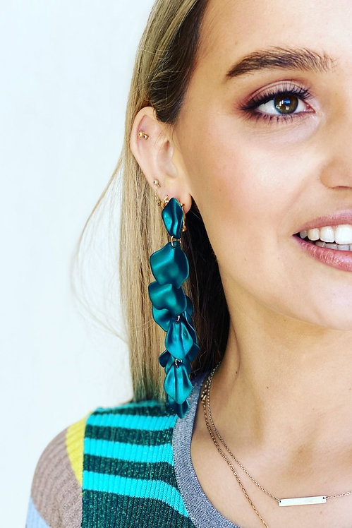 Shimmering Green Flower Falls Earrings - Mosk Melbourne