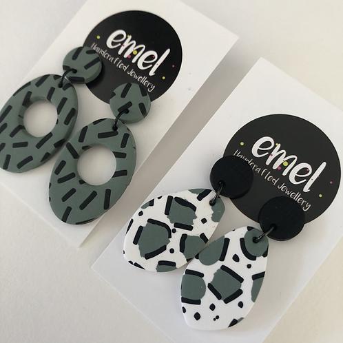 Sage Green Dangle Earrings - EMEL
