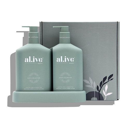 Wash & Lotion Duo + Tray - Kaffir Lime and Green Tea - ALIVE BODY