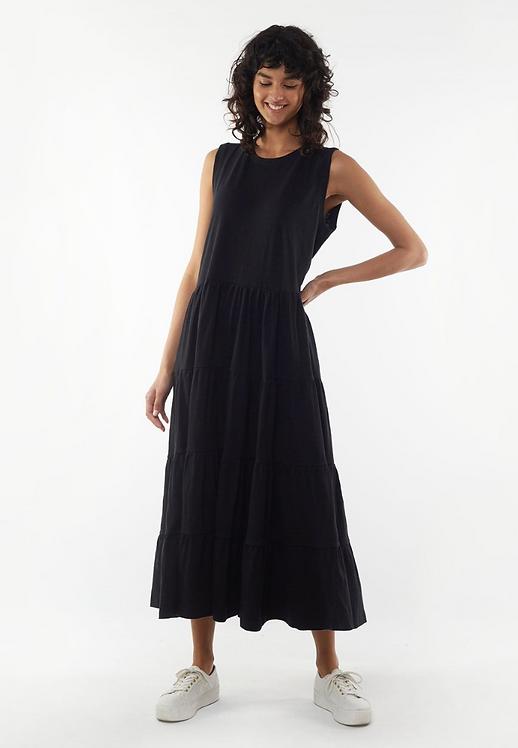 Nebraska Frill Dress Black - FOXWOOD