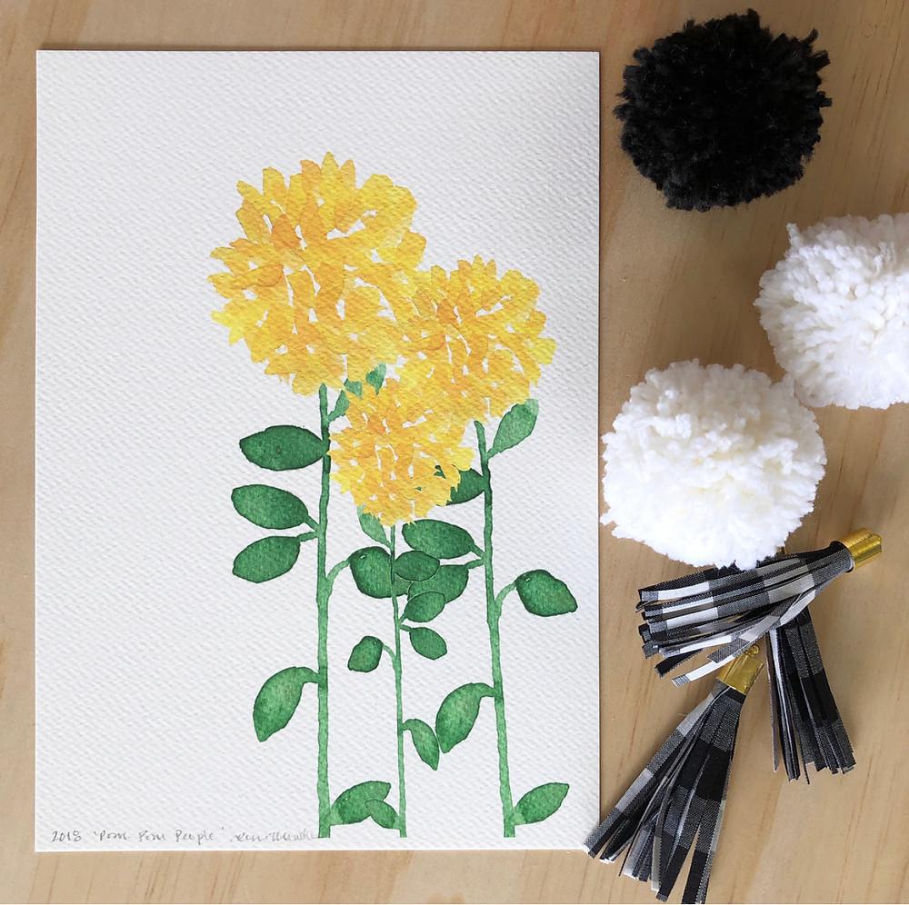 'Pom-pom People' Print - Yellow pom-pom flowers